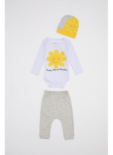 DeFacto Kız Bebek Baskılı 3'lü Takım Sarı